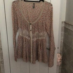 Free People Top lace floral s